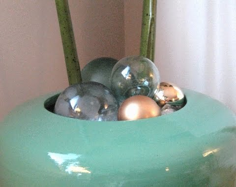 Christmas glass floats in vase