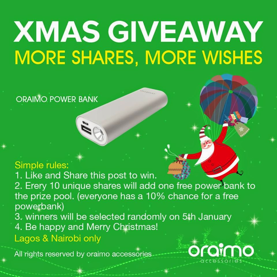 Oraimo Accessories #Xmas_giveaway_more_shares_more_wishes.