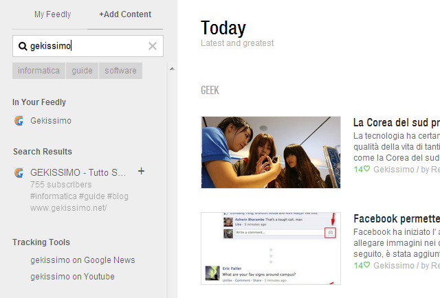 nuove fonti feedly