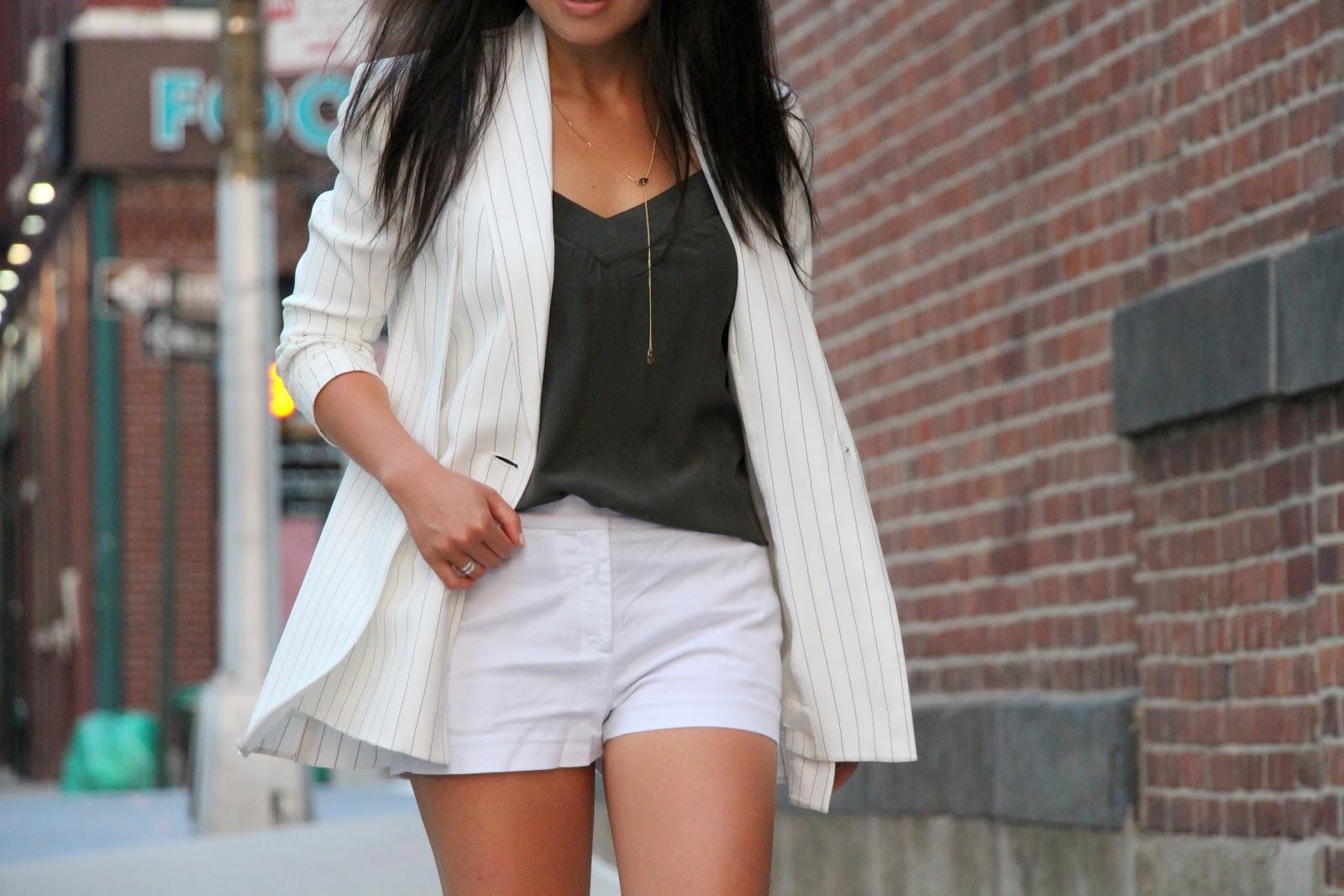 Thakoon pinstripe blazer white Zara shorts Forever 21 olive green tank Alexander Wang Antonia sandals