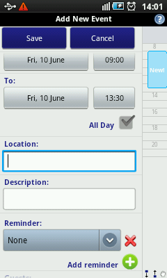 Android Calendar - Add Event More Choices
