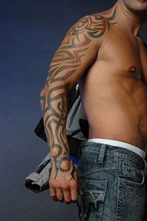 Tribal arm tattoos tattoo pictures for Male sleeve tattoo ideas