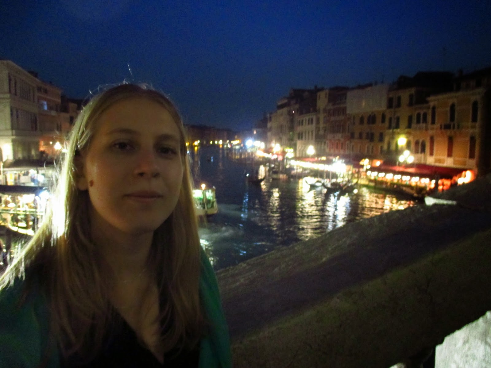 Sarah in Venice at Night