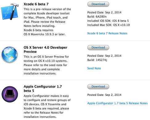 OS X Server 4.0 Developer Preview 5 (DP5) (Build 14S274j), Xcode 6 Beta 7 (Build 6A280n), Apple Configurator 1.7 Beta 5 and OS X Yosemite Recovery 2.0 Updates