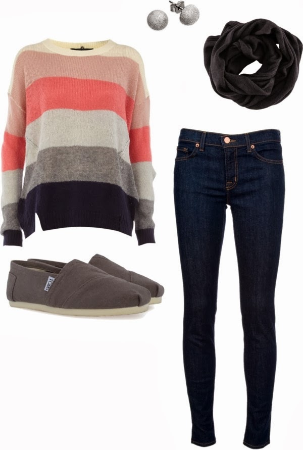 Amazing colourful sweater, scarf, jeans, pants and shoes for fall
