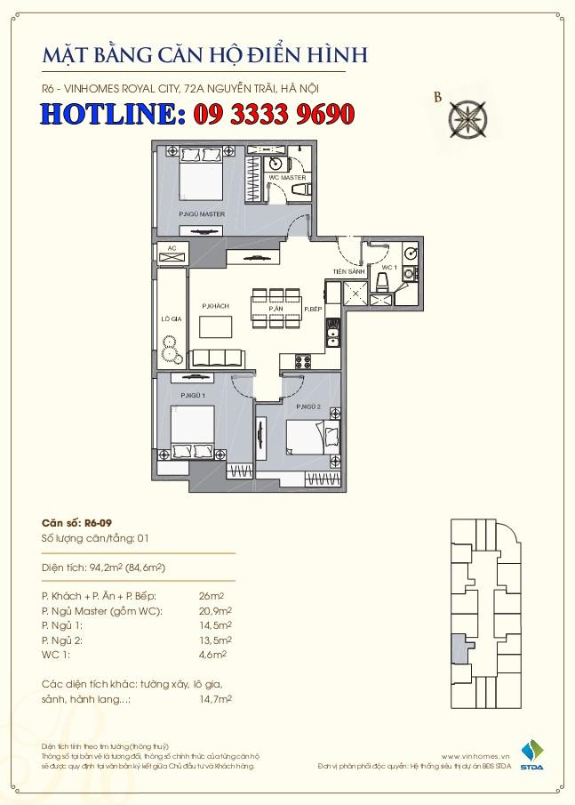 Mặt bằng căn hộ số 09 R6 Royal city