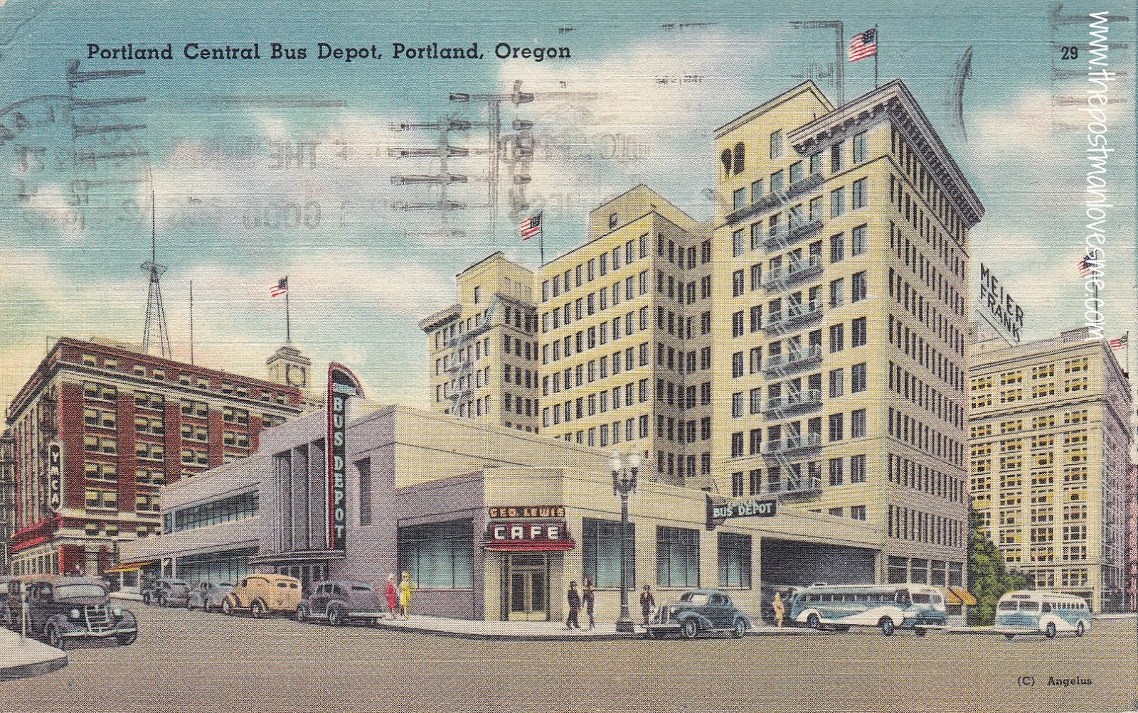 Portland Central Bus Depot, Portland, Oregon Vintage Postcard