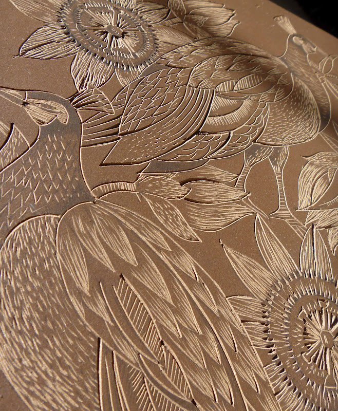 Mangle prints patterns peahens and passionflowers