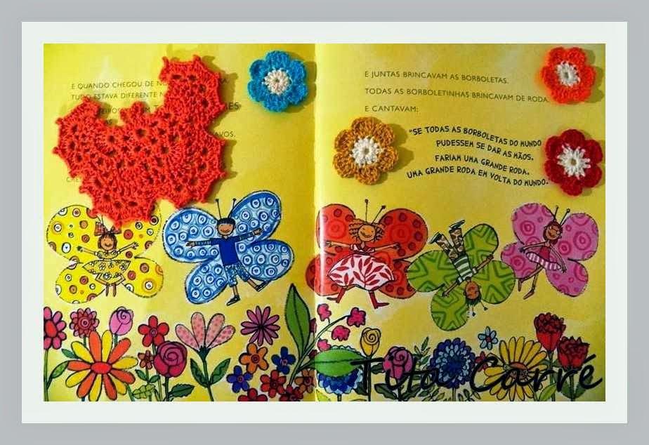 Borboleta e flores em crochet 3