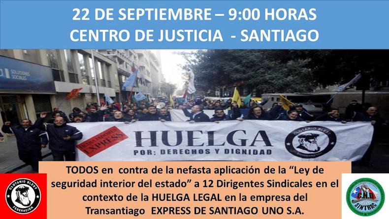 SANTIAGO:  Dirigentes de Alsacia Express enfrentan juicio por Ley de Seguridad del Estado