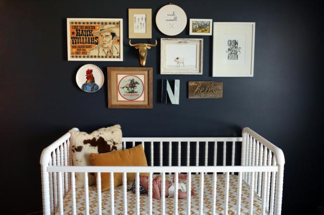 Black Walls in a Baby Nursery