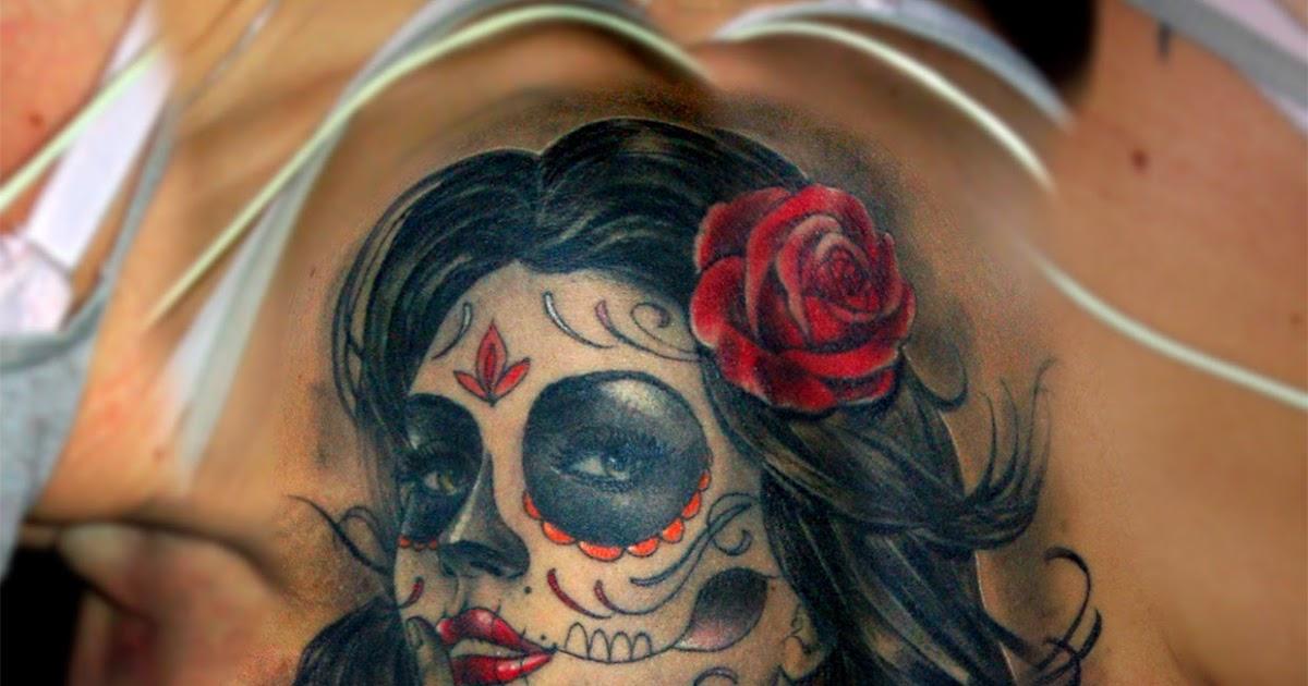 Cosafina tattoo carlos art studio tatuaje mujer santa muerte catrina calavera mejicana rosas - Santa muerte tatouage signification ...
