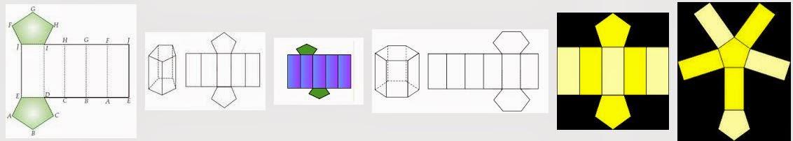 Jaring-jaring prisma segitiga, segi empat, segi lima, segi ...