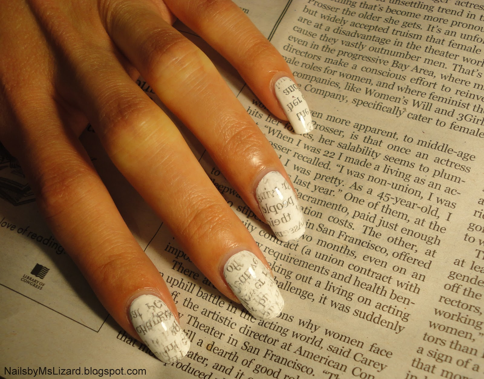 Nails by Ms. Lizard: Artsy Wednesday: Newspaper Nails + variation