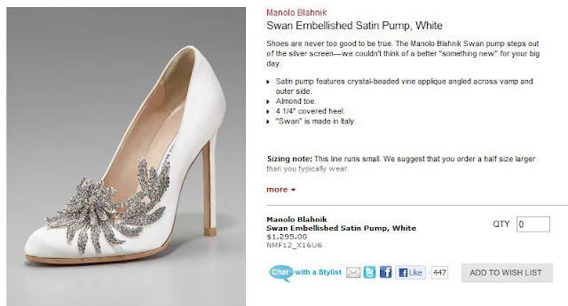Neiman Marcus Sells A Replica Of Bella Swans Wedding Shoes Designed By Manolo Blahnik