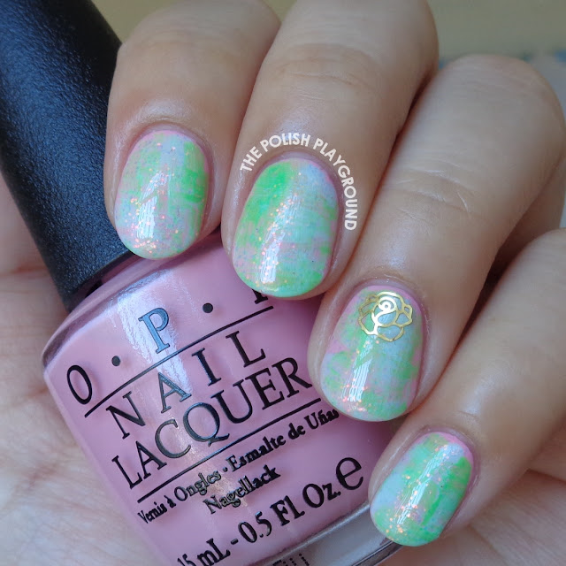 Distressed Pastels with Gold Rose Decoration Nail Art