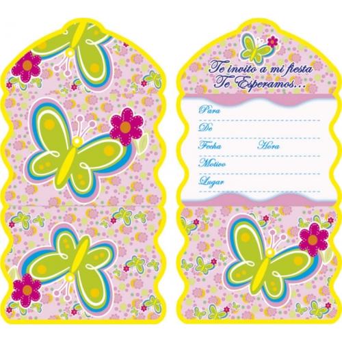Tarjetas de invitación de cumpleaños de flores y mariposas - Imagui