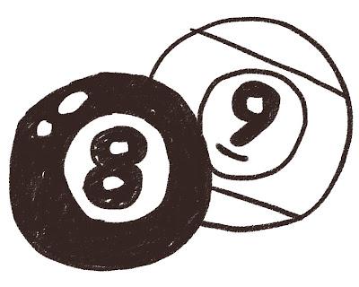 ビリヤードのボールのイラスト(スポーツ器具) モノクロ線画