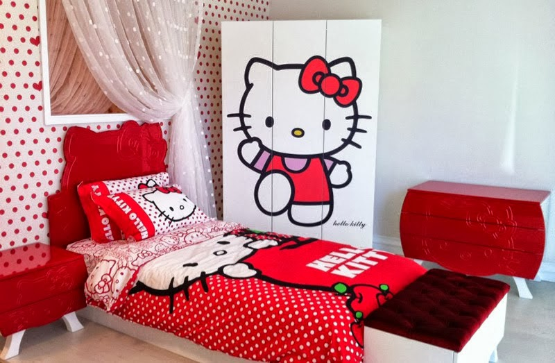 Gambar Kamar Tidur Hello Kitty yang Cantik dan Lucu