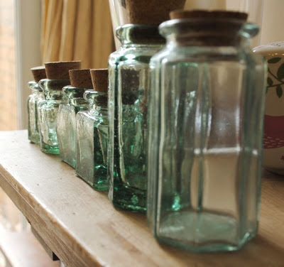 tiny recycled glass ink bottles with cork stoppers