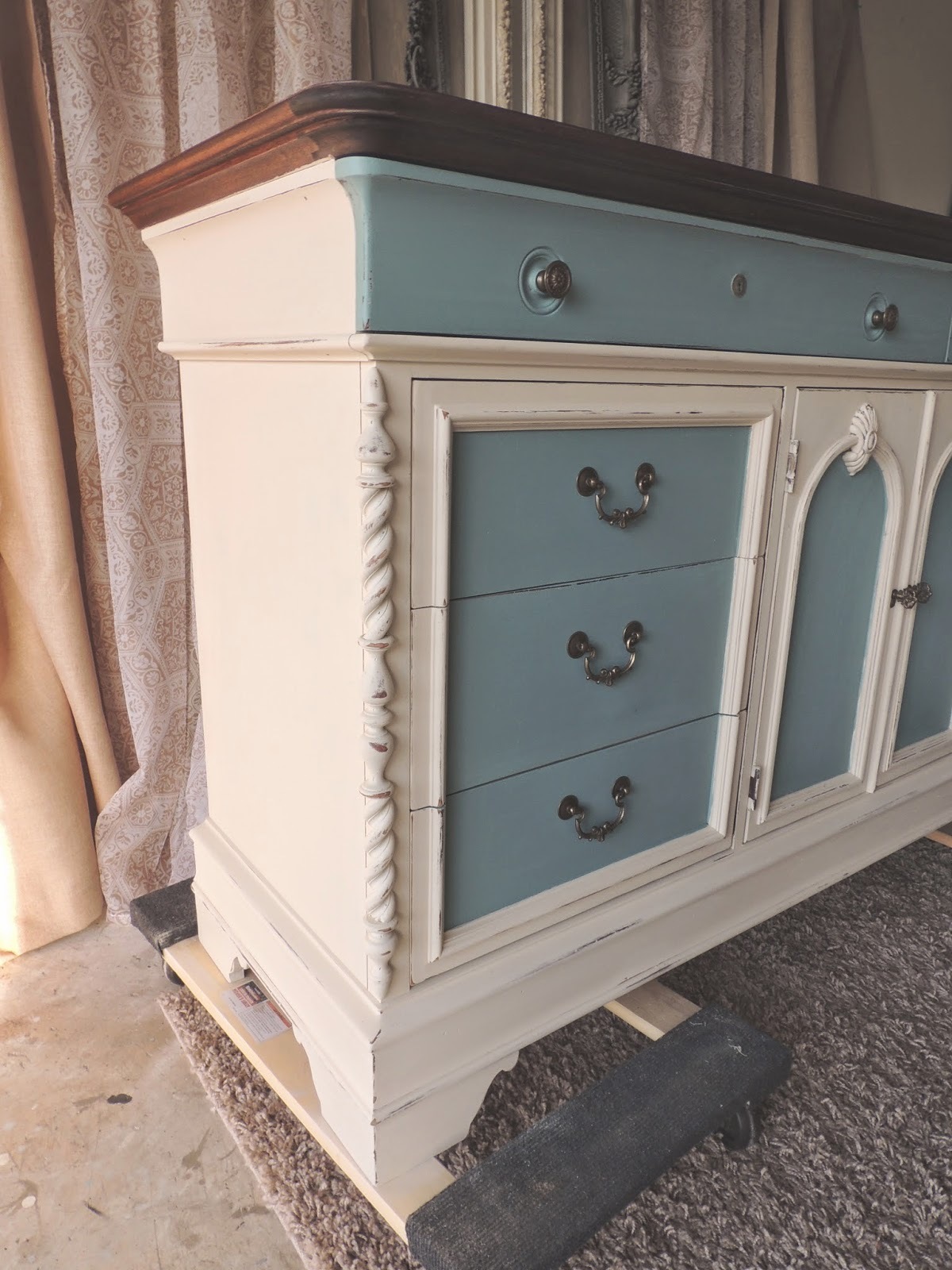 chalk painted dresser cream and blue