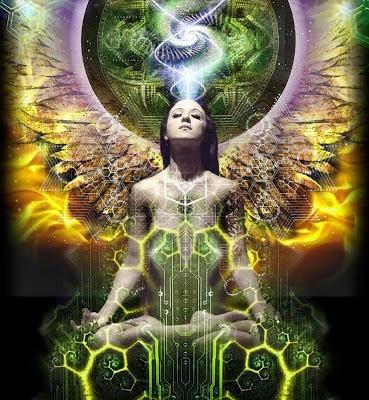 Mujer en posición de loto, a sus espaldas se muestran circulos de flujo de energia, de su chakra coronario emana luz que la conecta con el circulo central