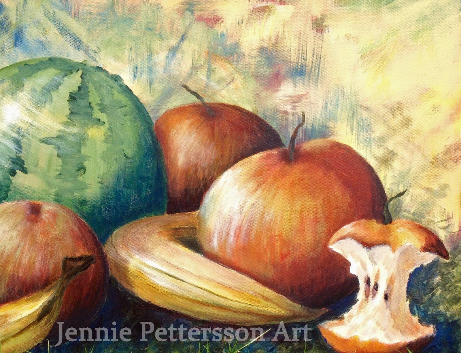 Ett äpple om dagen, akrylmålning.