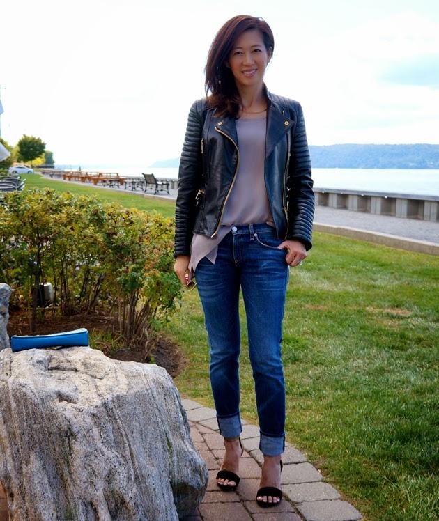 Wearing Mango moto jacket, tank, Rag & Bone boyfriend jeans, Joie heels on a beautiful Fall day
