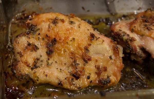 Hippo Flambé: Roasted Cardamom, Oregano and Garlic Chicken Thighs