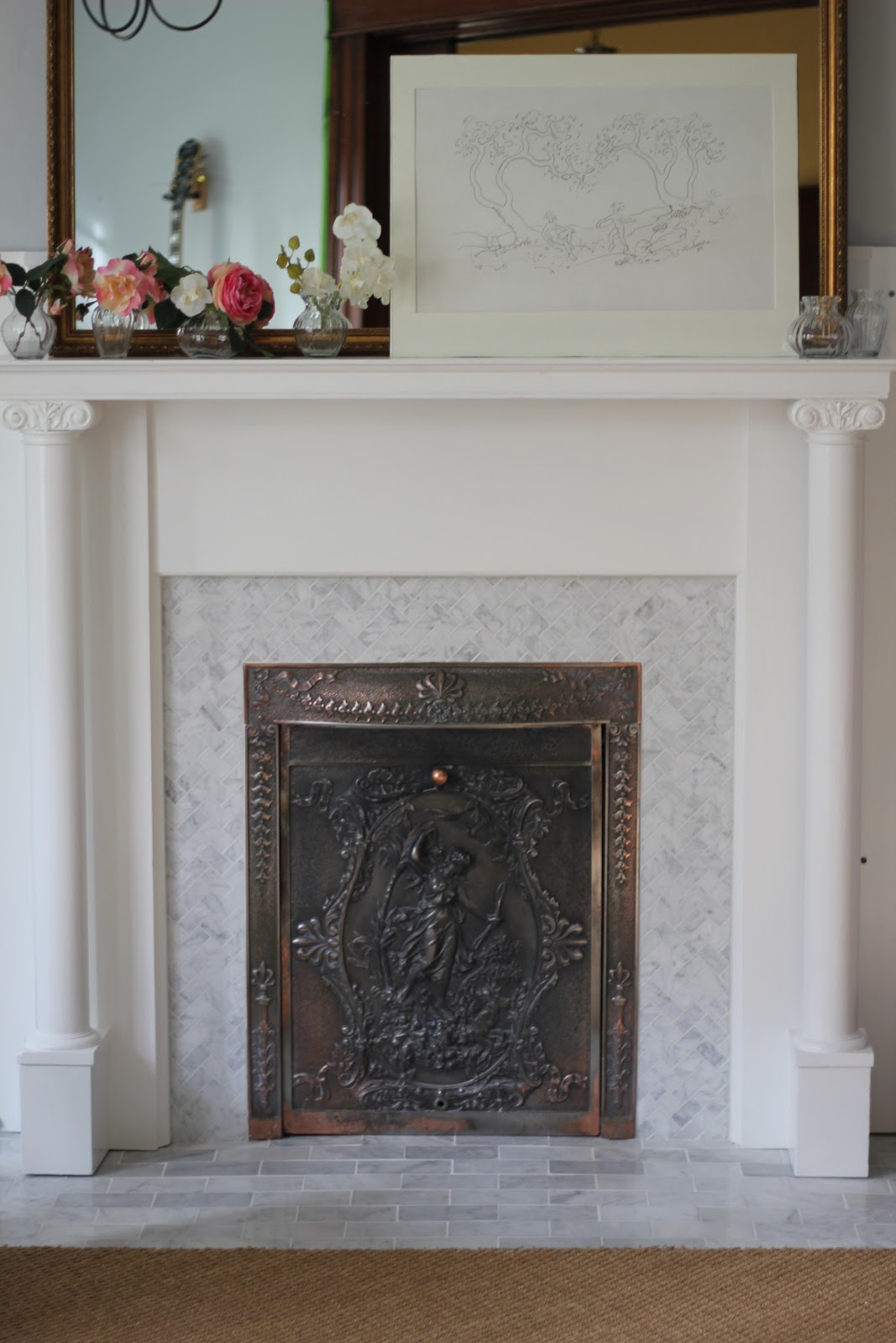 back on festive road fireplace reveal