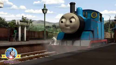 Blue steam locomotive Thomas tank and friend Sodor Mountain pit Winston the red truck party surprise