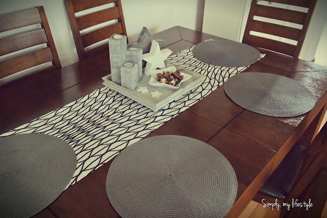 bieżnik ozdoba stołu gwiazdki czarno białe