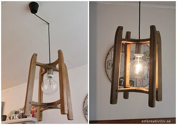 Fin Kokslampa : oterbruk Kokslampa av en gammal garnvinda  ett kreativt liv