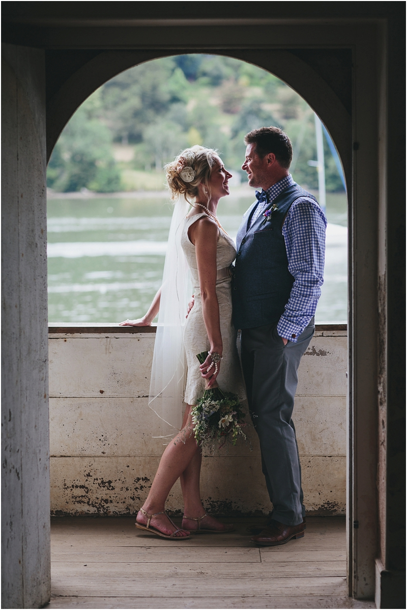Bride and groom in Agatha Christie's boathouse, Greenway House