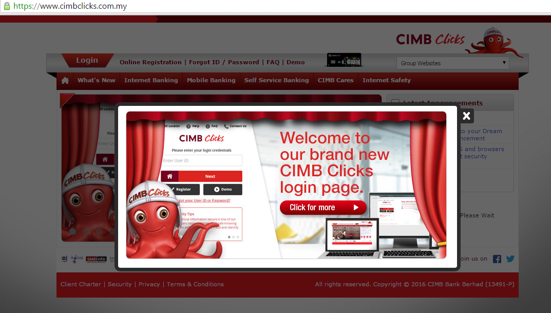 Login page CIMB Clicks