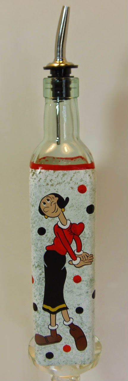 Olive Oyl hand painted oil bottle / www.kudoskitchenbyrenee.wazala.com
