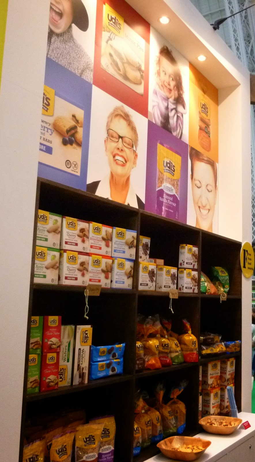 A wall of Udi's gluten free products at the Allergy and Free From Show in London