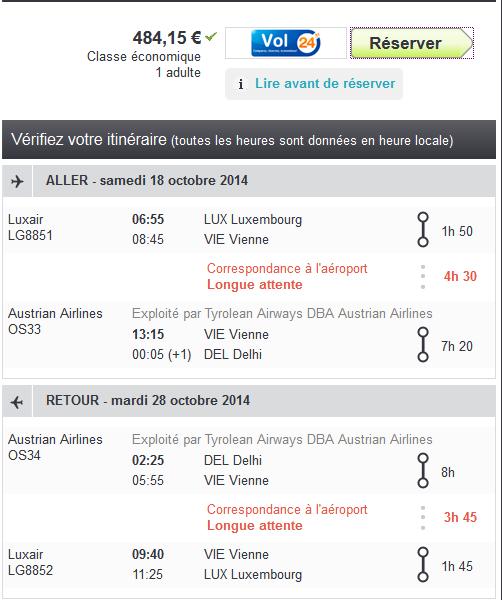 Delhi au départ de Luxembourg