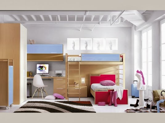 Cama alta con cama cruzada con 3 cajones for Camas altas juveniles