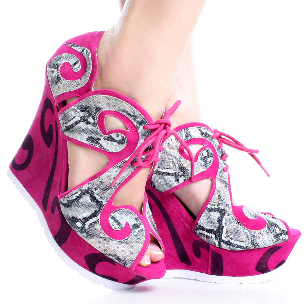 Unique Pink High Heel Wedge | Ladies Wedges Gallery