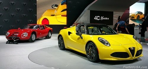 Alfa Romeo 4C Spider and 1963 Alfa TZ2