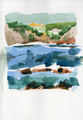 aquarelle watercolor pointe de Mourret Petit Gaou Six-Fours-les-Plages