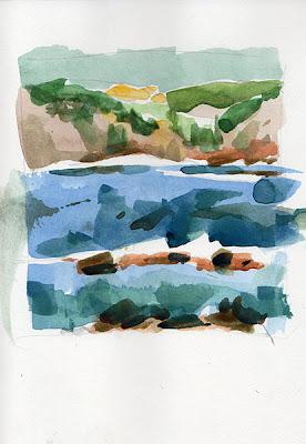 aquarelle watercolor pointe de Mourret Petit Gaou Six-Fours-les-Plages