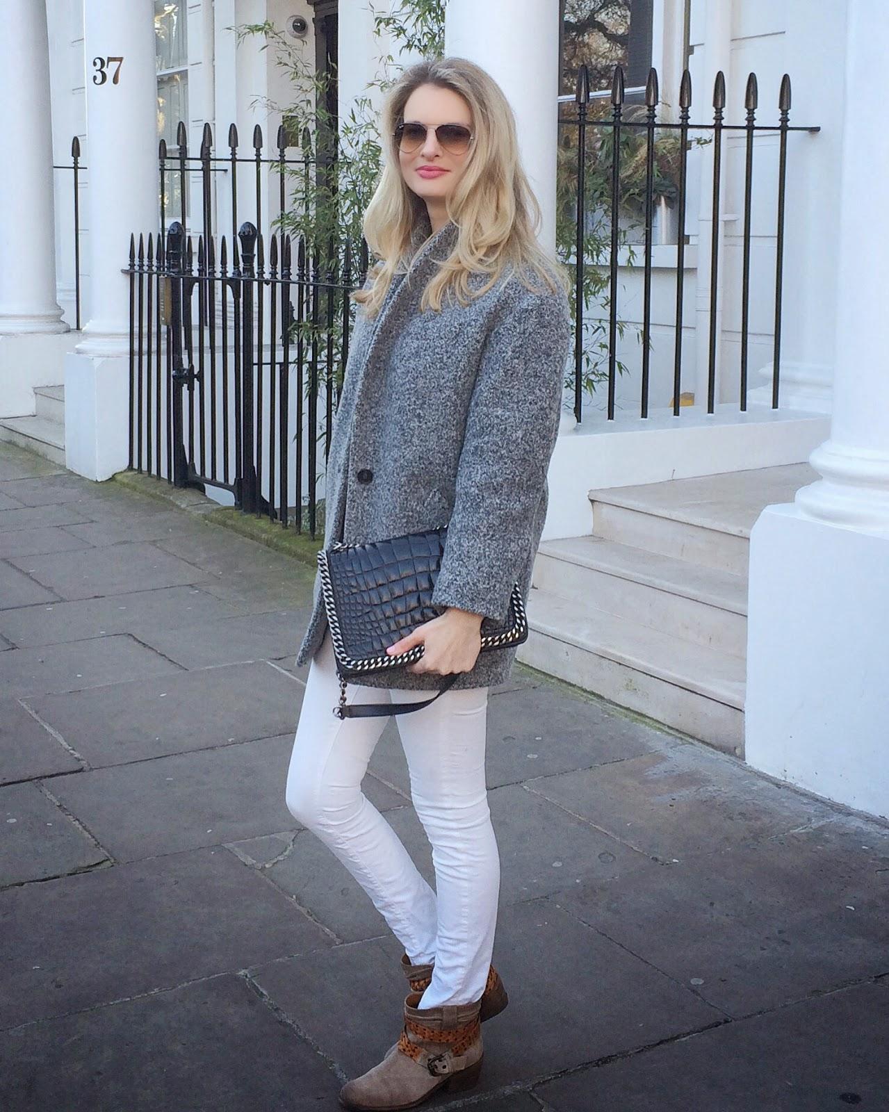 london street style, white skinny jeans, grey coat, iro coat, white jeans and grey coat, beige boots, russell and bromley boots, blonde hair, blonde wavy hair, ray ban sunglasses, zara croco bag, zara city bag croco