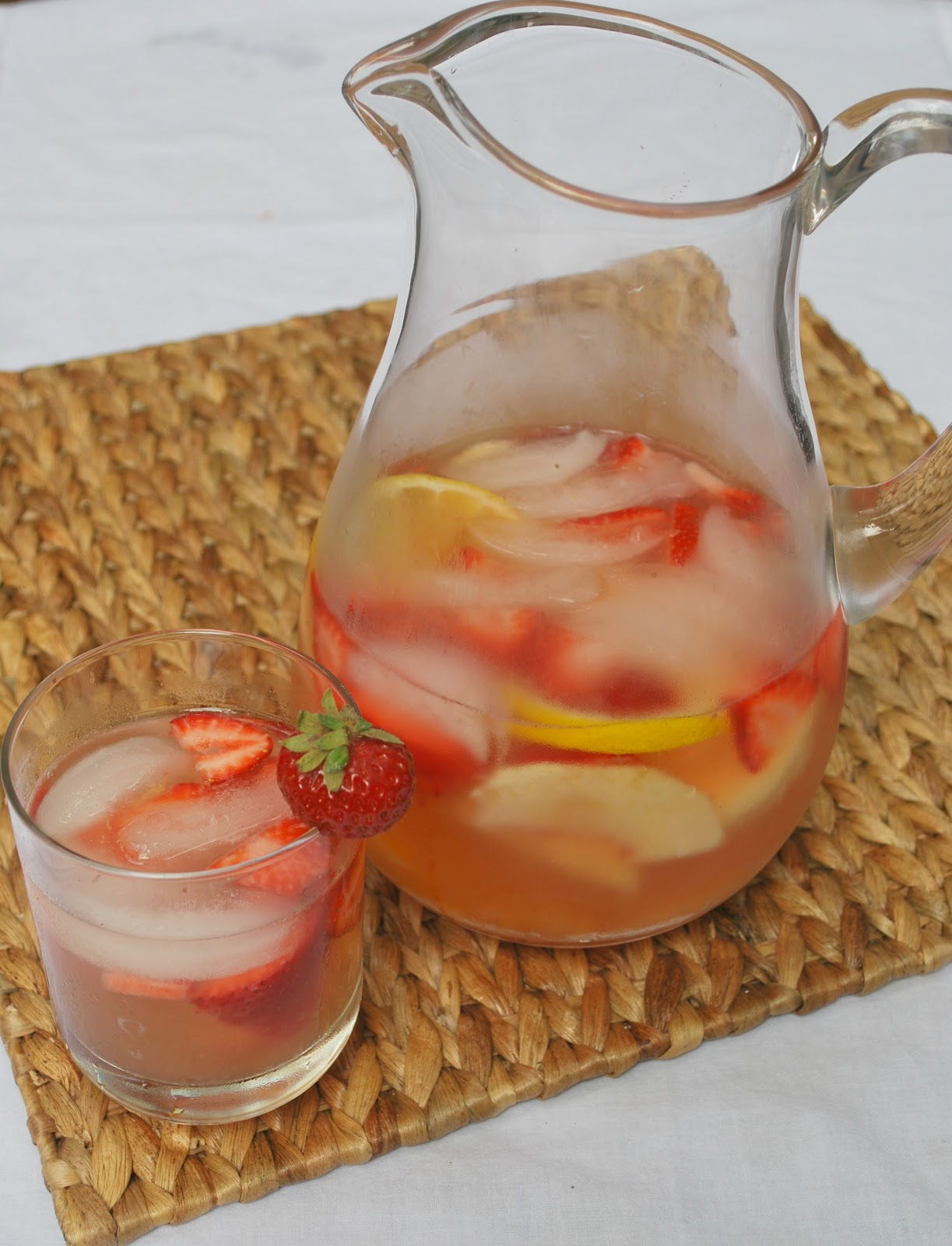 Cheese Please: Sparkling Peach Sangria with Strawberry Simple Syrup