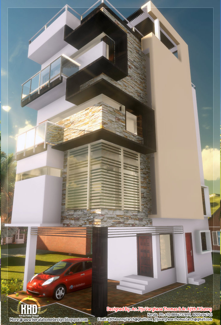 3 floor contemporary narrow home design kerala house design for Narrow home designs