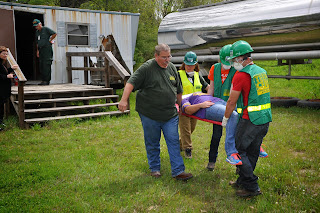 Students worked with CERT volunteers to rescue victims.
