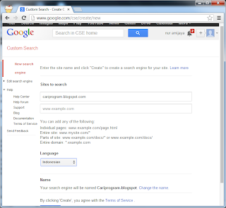 Membuat Google Custom Search pada Web atau Blog New Search Engine