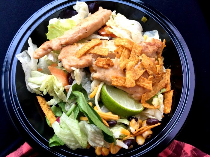 Healthy eating during a road trip. McDonald's Southwest chicken salad.
