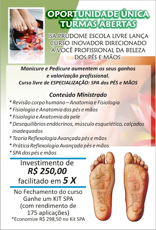 CURSO LIVRE DE ESPECIALIZAÇÃO SPA DOS PÉS E MÃO COM BÁSICO EM REFLEXOLOGIA